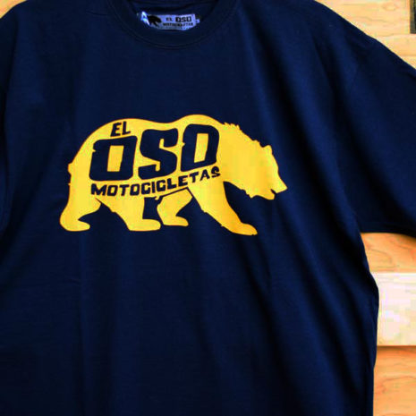 Camiseta El Oso Motocicletas azul marino con oso amarillo